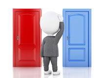 3d businessman and two doors, doubtful. Choice concept. 3d illustration.  Business people and two doors, doubtful. Choice concept on white background Stock Image