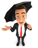 3d businessman with an umbrella Stock Image