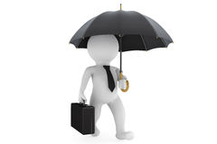 3d businessman under the protection umbrella. On a white background Royalty Free Stock Photo