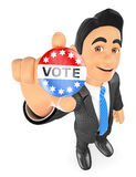 3D Businessman with a vote badge Royalty Free Stock Photos