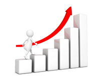 3d businessman walk up on rising graph chart. Success concept 3d render illustration Royalty Free Stock Image