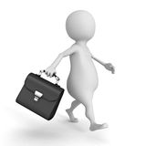 3d businessman walking with black leather briefcase. 3d render illustration Royalty Free Stock Photography