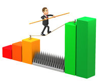 3d businessman walking on tightrope. 3d businessman balancing on a tightrope Stock Photo