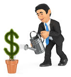3D Businessman watering dollar shaped pot plant. Growth concept Royalty Free Stock Image