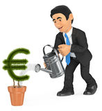 3D Businessman watering euro shaped pot plant. Growth concept Stock Photography