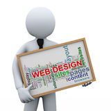 3d businessman and web design tags Stock Image