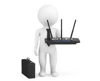 3d Businessman with WiFi router Royalty Free Stock Image