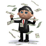 3d Businessman in windfall of US Dollar bills Royalty Free Stock Image
