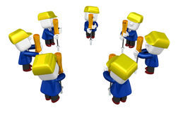 3d Businessman working. 3D Square Man Series. Royalty Free Stock Photo