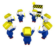3d Businessman working. 3D Square Man Series. Stock Photos