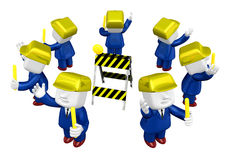 3d Businessman working. 3D Square Man Series. Royalty Free Stock Image