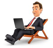 3d businessman working on vacation. Illustration with isolated white background Royalty Free Stock Photo