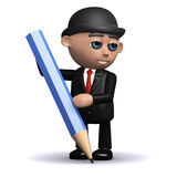 3d Businessman writes with a pencil. 3d render of a businessman writing with a pencil Royalty Free Stock Image