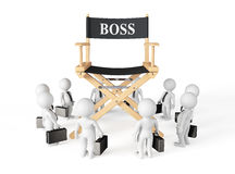 3d Businessmans Around Director Boss Chair. On a white background royalty free illustration