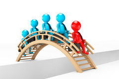 3d businessmans crossing bridge. On a white background Stock Image
