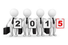 3d Businessmans with New 2015 year sign Stock Photos