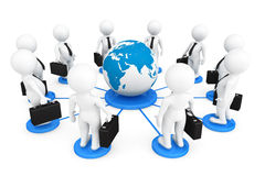 3d businessmans persons with Globe Earth Royalty Free Stock Photography