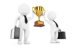 3d Businessmans Persons with a Gold Trophy in Hands. 3d Renderin Royalty Free Stock Images