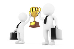 3d Businessmans Persons with a Gold Trophy in Hands. 3d Renderin. 3d Businessmans Persons with a Gold Trophy in Hands on a white background. 3d Rendering Royalty Free Stock Photos