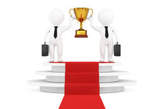 3d Businessmans Persons with a Gold Trophy in Hands over Round W. Hite Pedestal with Steps and a Red Carpet on a white background. 3d Rendering Royalty Free Stock Photos