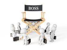 3d Businessmans runt om direktörframstickandet Chair Fotografering för Bildbyråer