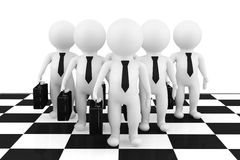 3d businessmans stand on the chessboard. On a white background Stock Photo