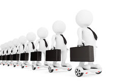 3d Businessmans Stand on White Self Balancing Electric Scooters. Royalty Free Stock Photos