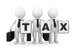 3d Businessmans with Tax sign Royalty Free Stock Photography