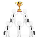 3d Businessmans Team Character Pyramid med guld- troféshower stock illustrationer