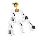 3d Businessmans Team Character Pyramid met Gouden Trofee toont Royalty-vrije Stock Afbeelding
