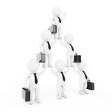 3d Businessmans Team Character Pyramid Shows Hierarchy och Teamw vektor illustrationer