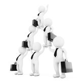 3d Businessmans Team Character Pyramid Shows Hierarchy And Teamw. Ork on a white background. 3d Rendering Royalty Free Stock Image