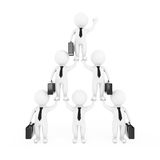 3d Businessmans Team Character Pyramid Shows Hierarchy And Teamw. Ork on a white background. 3d Rendering Stock Image