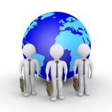 3d businessmen service worldwide. 3d businessmen as a team are in front of the globe Stock Images