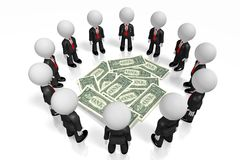 3D businessmen, 1 dollar bills. Great for topics like finance etc Stock Photo