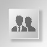 3D businessmen icon Business Concept. 3D Symbol Gray Square businessmen icon Business Concept Royalty Free Stock Photography