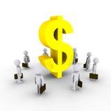 Businessmen admiring dollar symbol. 3d businessmen are looking up at dollar symbol Royalty Free Stock Photos