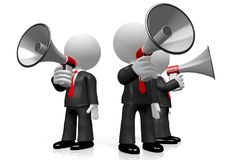 3D businessmen with megaphones. 3D three businessmen with a megaphone - great for topics like communication, advertisement, announcement etc Stock Photo