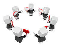 3d Businessmen Network group. 3D Square Man Series. Royalty Free Stock Photography