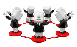 3d Businessmen Network group. 3D Square Man Series. Royalty Free Stock Images