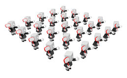 3d Businessmen Network group. 3D Square Man Series. Royalty Free Stock Photo