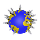 Businessmen around earth. 3d businessmen are standing around the globe Royalty Free Stock Images