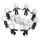 3D businessmen, teamwork/ goal concept. 3D businessmen on white background holding hands - goal/ cooperation concept Royalty Free Stock Photo