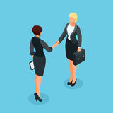 3d businesswomen came to an agreement and completed the deal wit. Isometric businessmen shake hands. 3d businesswomen came to an agreement and completed the deal Royalty Free Stock Image