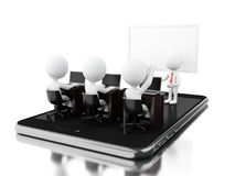 3d Bussines characters having a online meeting on tablet. 3d Illustratrion. Bussines characters having a online meeting on tablet. Bussiness and technology Royalty Free Stock Images