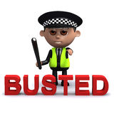 3d Busted by the law. 3d render of a police officer with the word Busted in foreground Royalty Free Stock Image