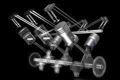 3D butli samochodowy silnik - bryła i wireframe modelujemy, czarny tło ilustracja wektor