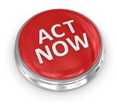 3d button - act now. 3d button , computer generated image. 3d render Royalty Free Stock Images