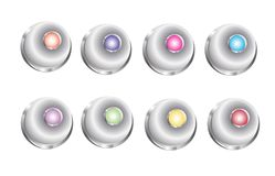 3D Button Bell. Round, circle 3D button set for web page. Colorful and silver icon isolated vector illustration on white background Royalty Free Stock Photography