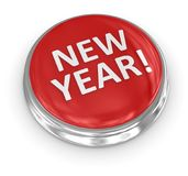 3d button - new year. 3d button , computer generated image. 3d render Stock Images